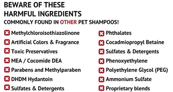 WHAT ARE THE ELEMENTS TO AVOID IN THE SHAMPOO WHEN BUYING FOR DOGS?